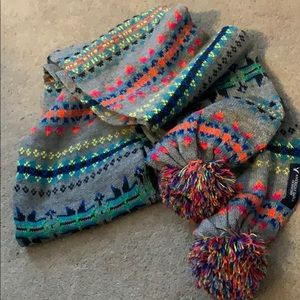 American Eagle colorful knit pompom scarf